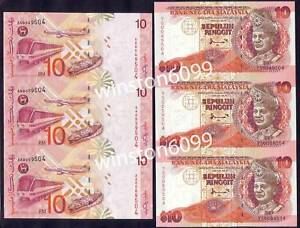 Details about 1983 1997 Malaysia Money Currency Uncut Banknotes UNC RM10 (3  in 1 matched pair)