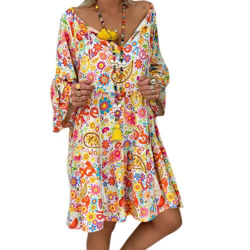 Damen Strandkleid Kaftan Kleider Sommerkleid Kurzarm Minikleid Baggy Locker Tops