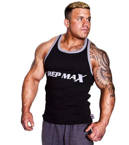 Black Men/'s Workout Wear Bodybuilding Muscle Top 1 REP MAX Ribbed Gym Vest