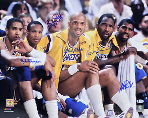 Showtime (5) Johnson, Jabbar, Worthy, Scott & Thompson Signed 16x20 Photo BAS 2