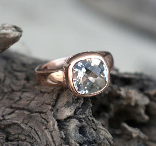 925 sterling silver natural green amethyst gemstone rose gold ring