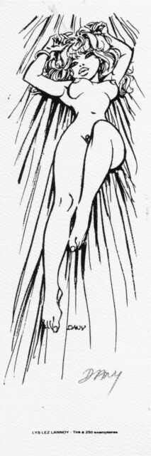 DANY Olivier Rameau DRUCK/EX-LIBRIS Oliver&Columbine COLOMBE NUDE signed PIN-UP