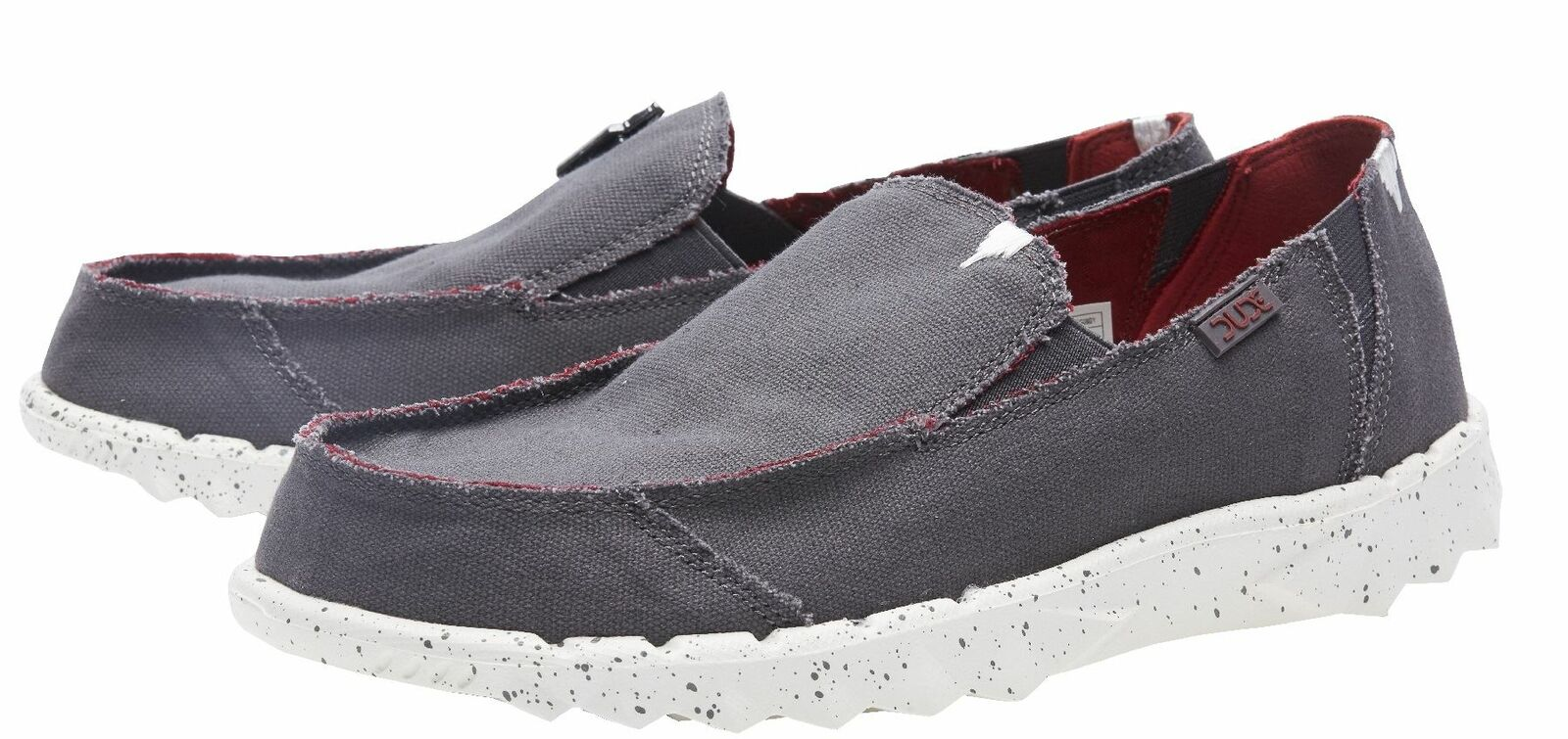 DUDE shoes Farty Funk Grey Burgundy Slip On shoes Mule in UK6 to UK14