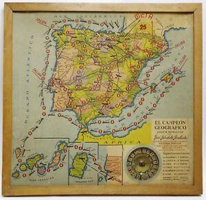 Antiguo-juego-El-Campeon-Geografico-Anos-20-Con-ruleta