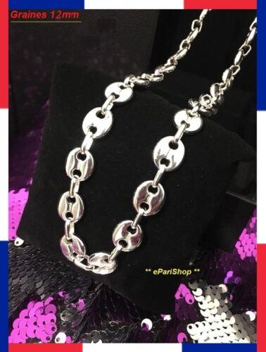 Chain Coffee Grain Necklace Steel Man Woman Color Silver Chain NEW