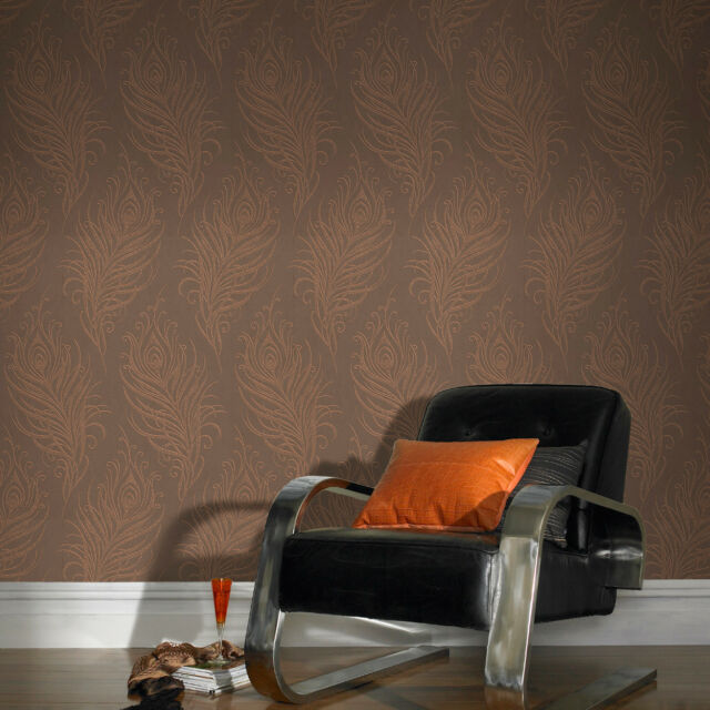 Quill Feather Copper/Brown Metallic Wallpaper HIGH QUALITY - UK DESIGNED & MADE