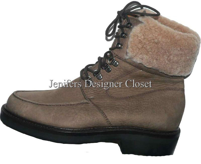 NEW COLE HAAN boots shoes 6B fleece ankle Brown leather hiking snow nubuck suede