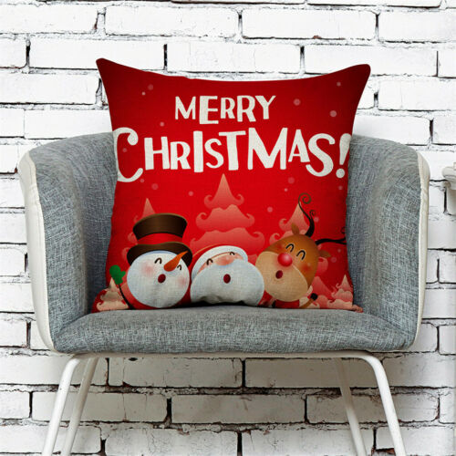 42 Patterns Merry Christmas Square Pillowcase Linen Cushion Cover Sofa Bed Decor
