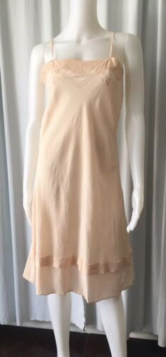 Vintage 30s Silk Embroidered Blush Slip