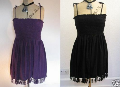 Strappy Boho Sun Top Robe 14 16 18 20 Violet Noir Frange Ourlet Spaghetti Bretelles