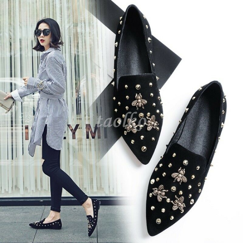 confortevole Retro donna Flats Rivets Suede Slip On Pointed Pointed Pointed Toe Pumps Fashion Summer scarpe  acquista online oggi