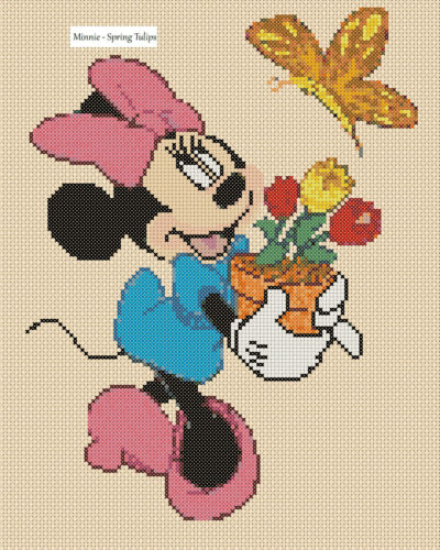 Cross Stitch Chart-Minnie Mouse Printemps Tulipes Flowerpower 37-uk GRATUIT ROYAUME-UNI p/&p