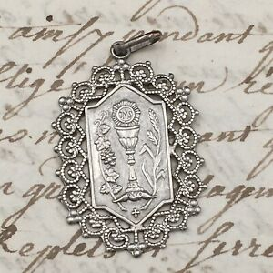 Medal-Pendant-Religious-Solid-Silver-Antique-Silver-Medal