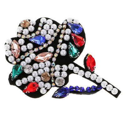 Flower Rhinestones Pearl Beads Patch Sew on Patch Applique for Cloth Decor