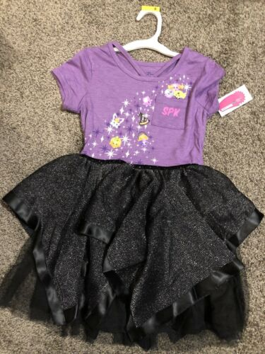 Shopkins Halloween Dress Black Sparkling Tulle Tutu Size X-Small 4-5 NWT