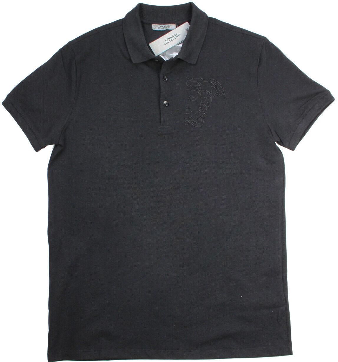 nouveaut  en coton noir Polo Piquet Noir Medusa broderie 100% Authentique Versace Shirt M