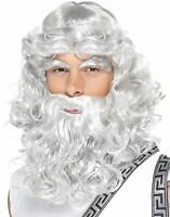 Gray Zeus Wig Beard Eyebrows Moses Wizard Greek God Poseidon Merlin Merman King