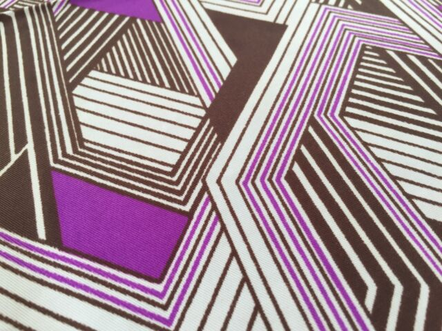"Vintage Silk Geometric Patterned Fabric, 45""x103"", Purple, White, Brown"