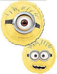 """HELIUM FOIL BALLOON 17/"""" ROUND SHAPE THE MINIONS TWO SIDED DESIGN"""