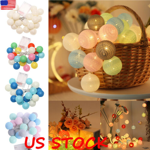 10//20 LED Globe Garland Cotton Ball String Fairy Lights Christmas Party Decorate