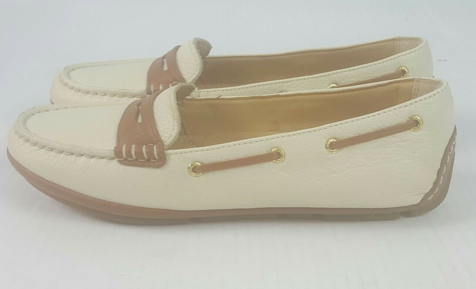 Sperry Gold Driver Penny Ivory Loafers Casual  Größe 5.5 M Damenschuhe STS93136 NWOB