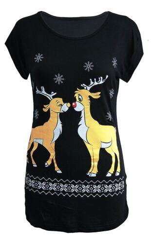 New Ladies Christmas Xmas Novelty Short Sleeve T-Shirts Tops 8-14