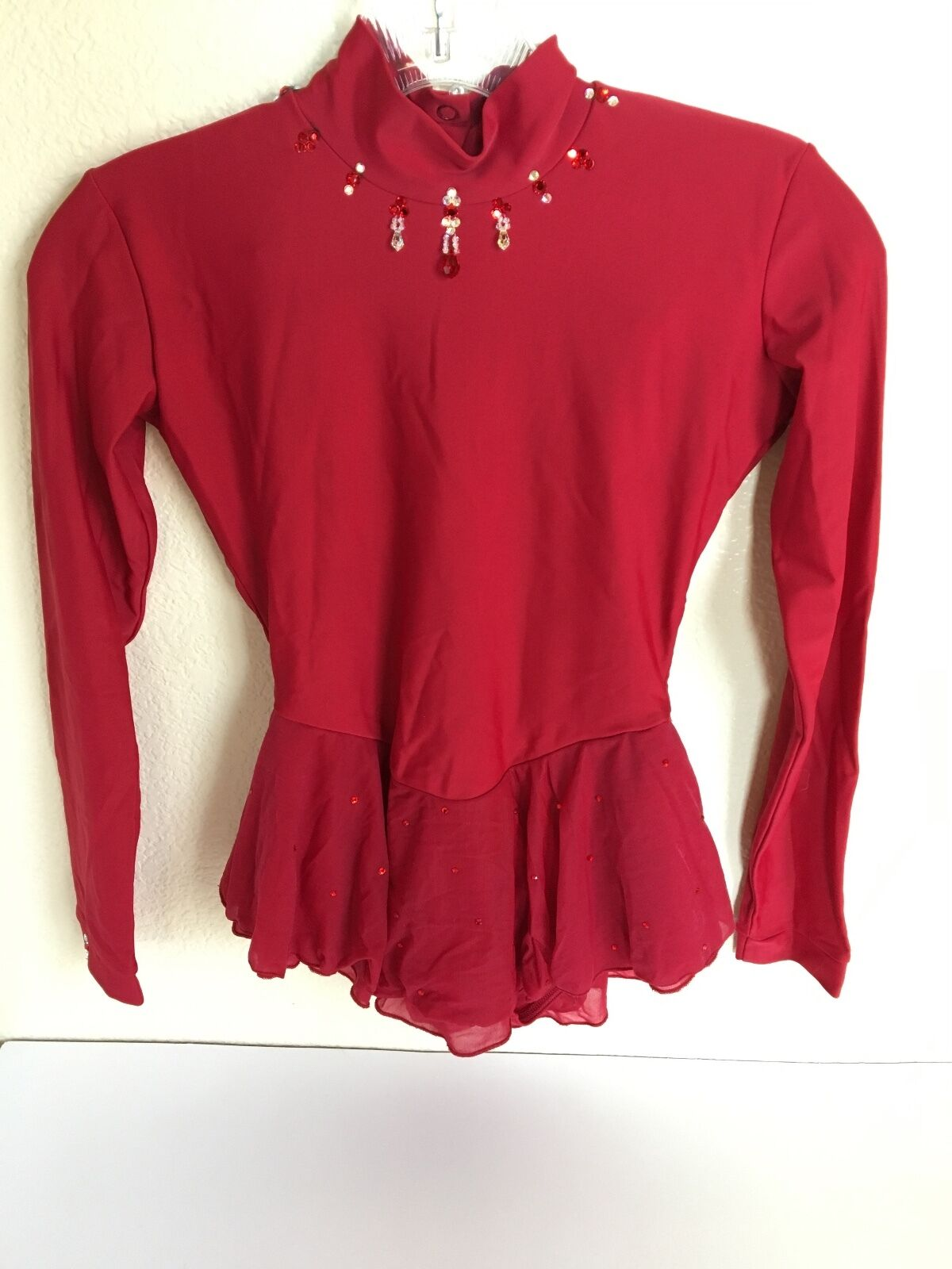 Red Beaded Competition Ice Figure Skating Dress Size Girls Large