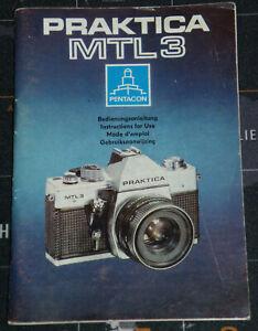 Originale Bedienungsanleitung manual für Spiegelreflexkamera  PRAKTICA MTL3 DDR