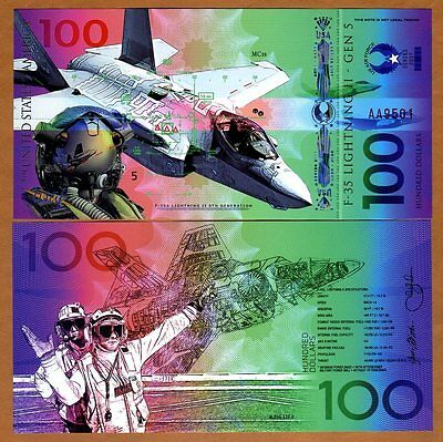 USA, $100 Private Issue Polymer, UNC > F35 Fighter Jet, Air Force