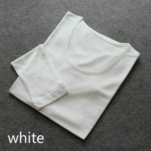 Damen Seide T-Shirt Oberteil Lange Unterhosen BLUSE Rundhals Hemden