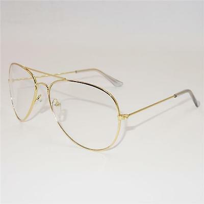 Vintage Classic Fashion Pilot Sunglasses Clear Lens Glasses Teardrop Geek New