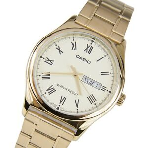 d2e4dff69e0 Details about BRAND NEW MTP-V006G-9B Gold Casio Men s Watch Stainless Steel  Band Date Day