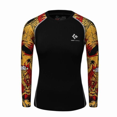 Compression Shirt Top Base Layer Pattern Long Sleeve For Women Sports Fashion