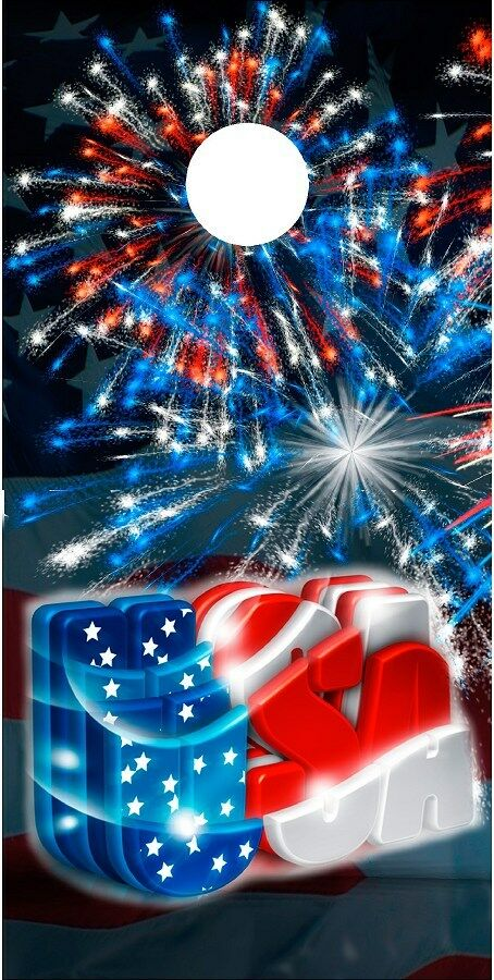 American Flag USA Patriotic Fireworks cornhole board game decal wraps