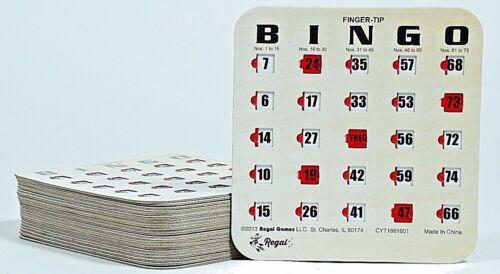100 Pack Reusable Finger-tip Shutter Slide Bingo Cards Woodgrain // Tan