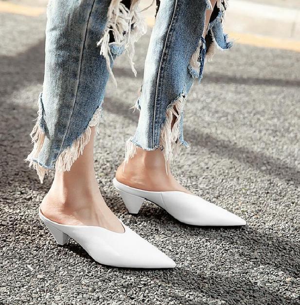 Vente chaude femmes bout pointu Kitten Escarpins Dos-nu Mules Chaussures Printemps Sandales SZ