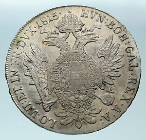 1815-AUSTRIA-w-King-FRANZ-JOSEPH-I-Antique-OLD-Genuine-Silver-Thaler-Coin-i84371