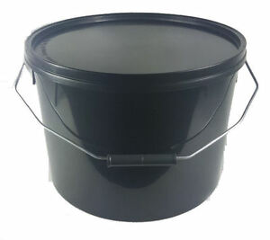 NEW-10-x-10-L-Ltr-Litre-Black-Plastic-Buckets-with-Lids
