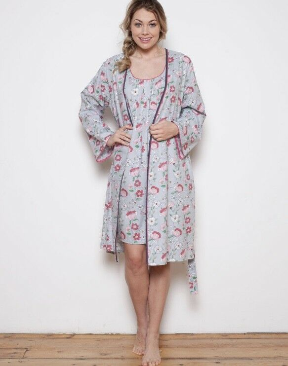 Cyberjammies FAYE Pink & Grey Cotton Blend Woven Wrap Robe UK Size 14 BNWT