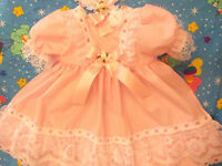 DREAM BABY PINK DITTO   DRESS & HBD NEWBORN 0-3 3-6 MONTHS OR REBORN DOLLS