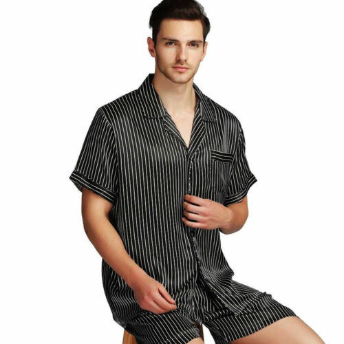 Mens Silk Satin Short  Pajamas  Pyajama  Set Sleepwear Set Loungewear  S~4XL