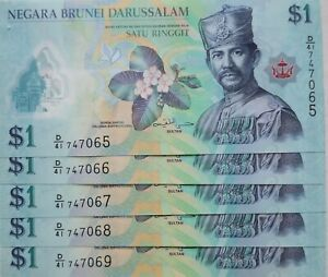 Brunei 5th Series 2016 5 pcs $1 Running Number Polymer Note D/41 747065 - 069