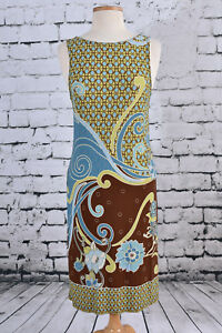 ANDRE-OLIVER-Size-4-Shift-Sleeveless-Dress-Paisley-BOHO-Brown-Blue-Lime-Green