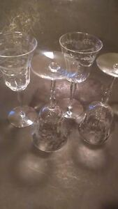 CRYSTAL-WINE-WATER-GOBLETS-ETCHED-MID-CENTURY
