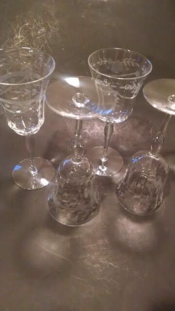 CRYSTAL WINE WATER GOBLETS ETCHED MID CENTURY