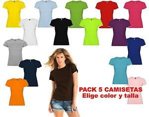 Camisetas Blancas De Color Lisas 5 Detalles Roly Mujer Pack Jamaica 100Algodon gvIfY7bym6