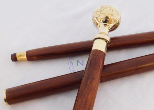 Vintage Style Brass Designer Globe Head Handle Walking Stick Wooden Cane Antique