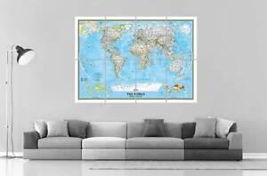Details About World Map Carte Du Monde Wall Art Poster Grand Format A0 Large Print 03