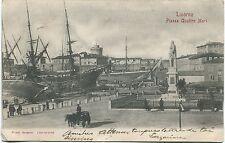 Primi '900 Livorno Piazza Quattro Mori navi carrozze cavalli FP B/N ANIM VG