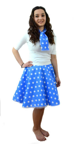 ROSA Donna Adulti A POIS ROCK AND ROLL 50s Gon na /& Sciarpa Costume